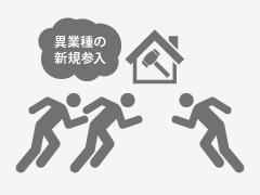 消費低速・金融不安等の理由による、親設住宅着工戸数の伸び悩みから、住宅・住設機器メーカーなどのリフォーム分野への新規参入が相次いでおり、競合激化。今後はより一層、熾烈な企業間競争に陥る可能性あり。
